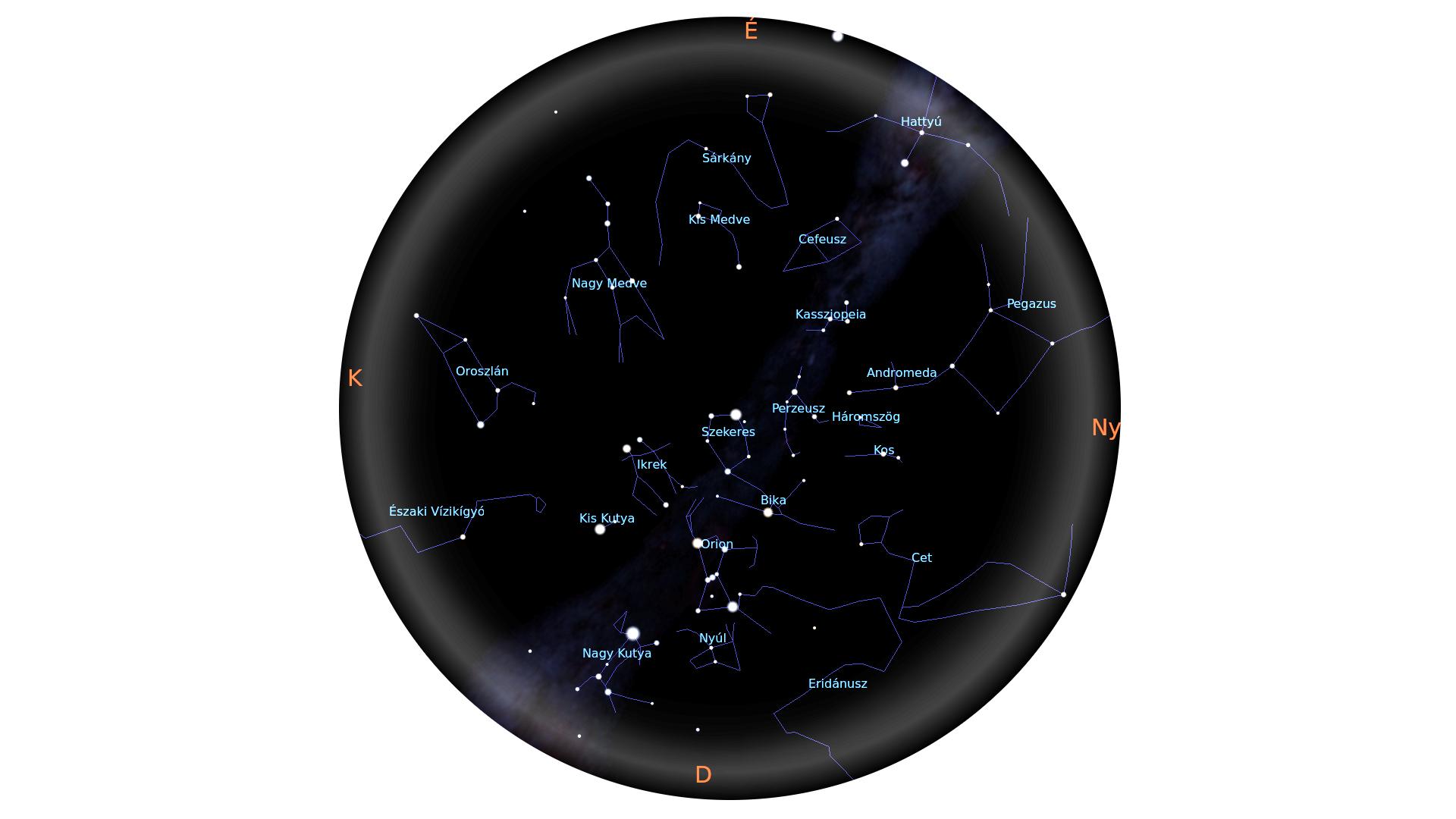 Téli csillagképek, 3-as határmagnitúdó